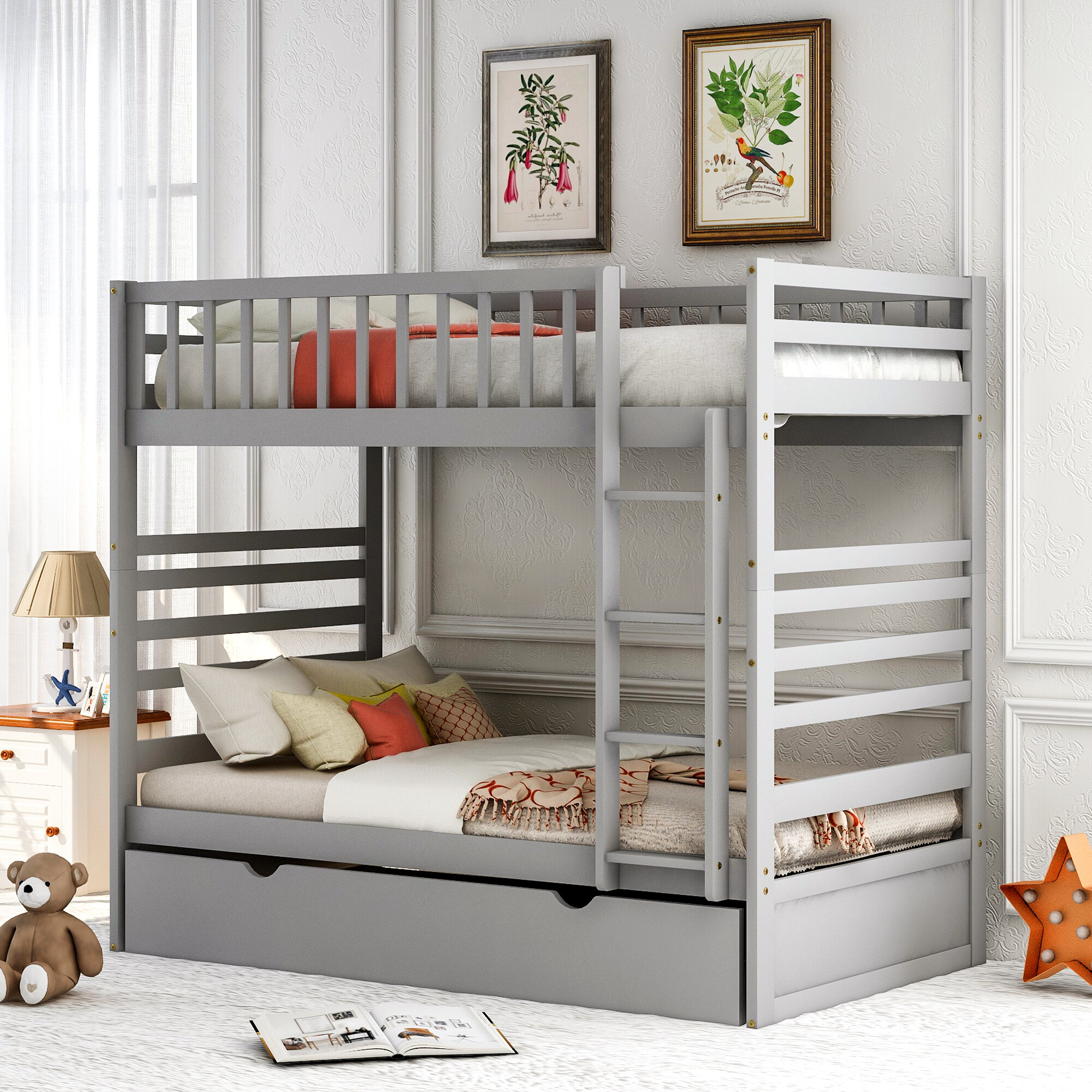 Picture of: Harriet Bee Elutheria Twin Over Twin Bunk Bed With Trundle Wayfair