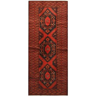Affordable Price One-of-a-Kind Ebron Hand-Knotted 4'9 x 11'8 Wool Red/Black Area Rug ByBloomsbury Market