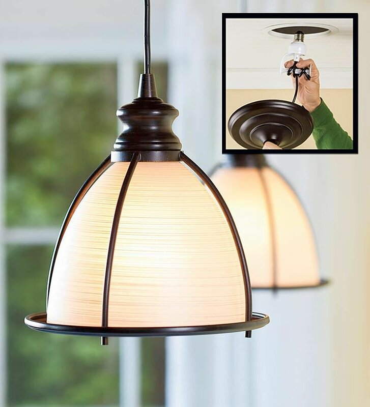 Plow & Hearth Screw In Brushed Bronze and Glass Cage Pendant Light