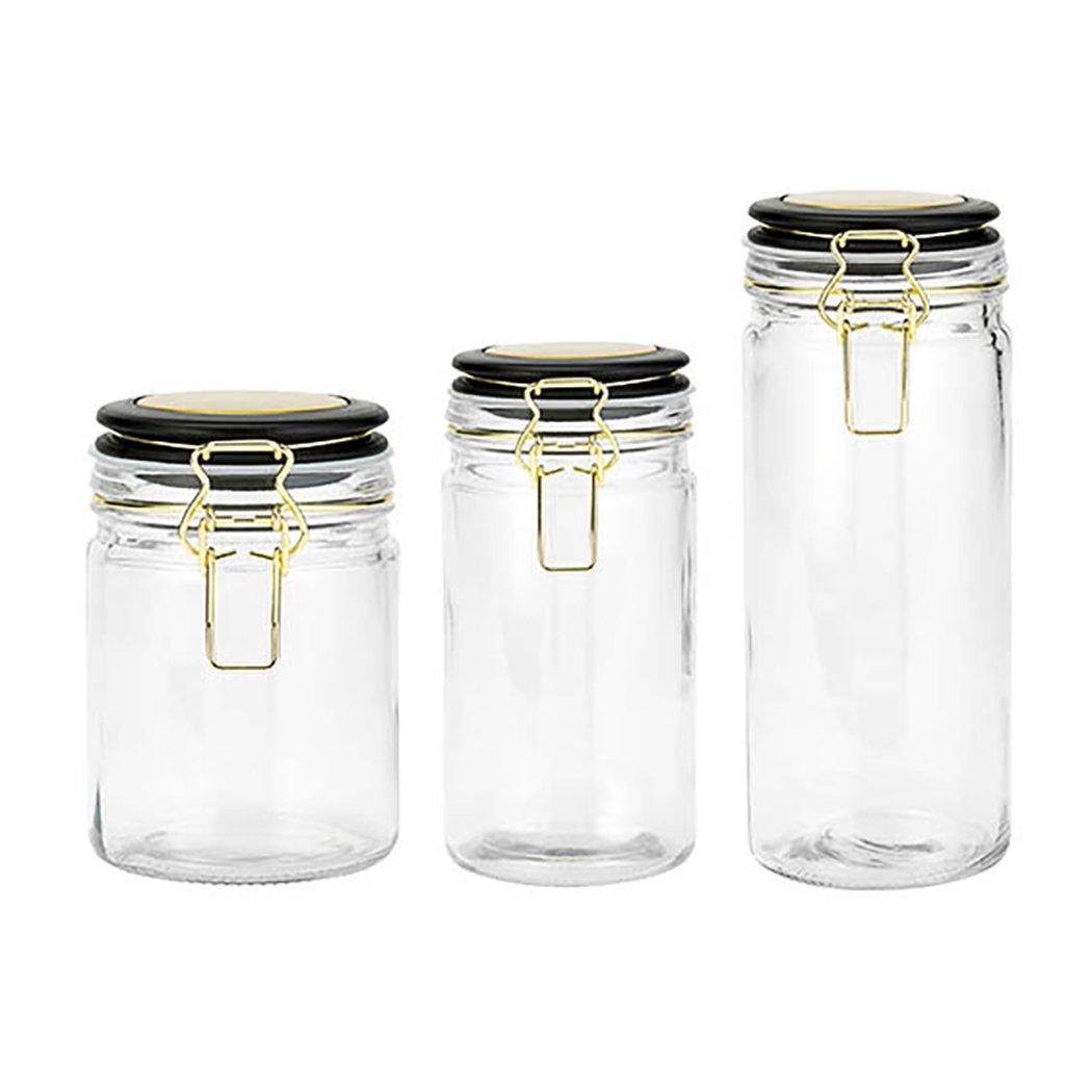 Wrought Studio Hermetic Glass 3 Piece Kitchen Canister Set Reviews Wayfair