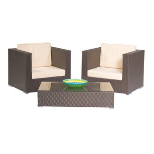 Trademark Innovations 3 Piece Rattan Conversion Set with Cushions
