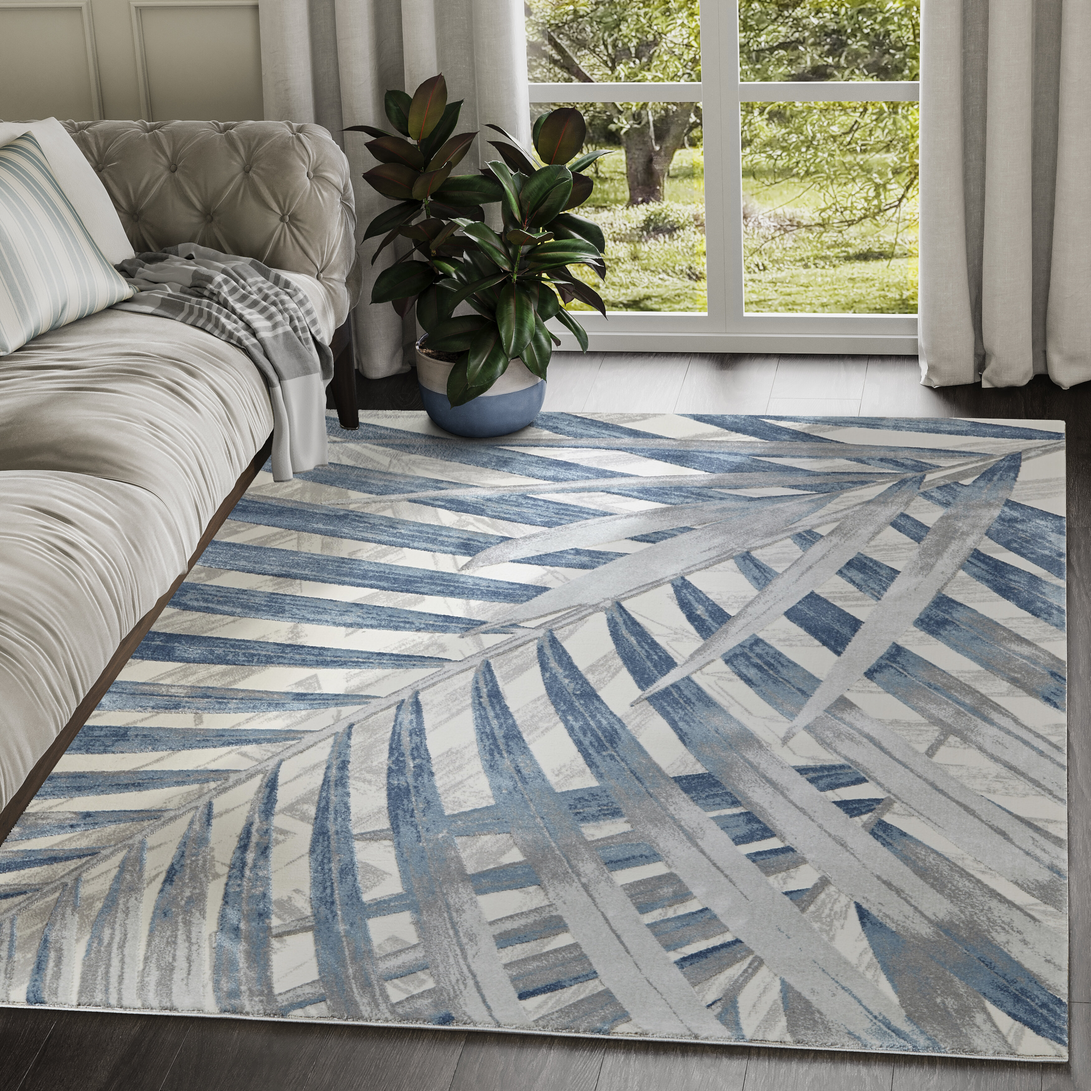 Bay Isle Home Barajas Floral Blue Gray Area Rug Reviews Wayfair
