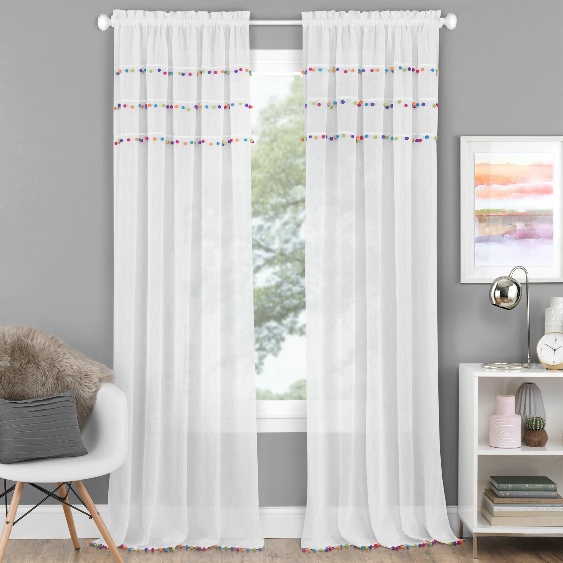 Dakota Fields Lemley Pom Pom Semi Sheer Rod Pocket Curtain Wayfair