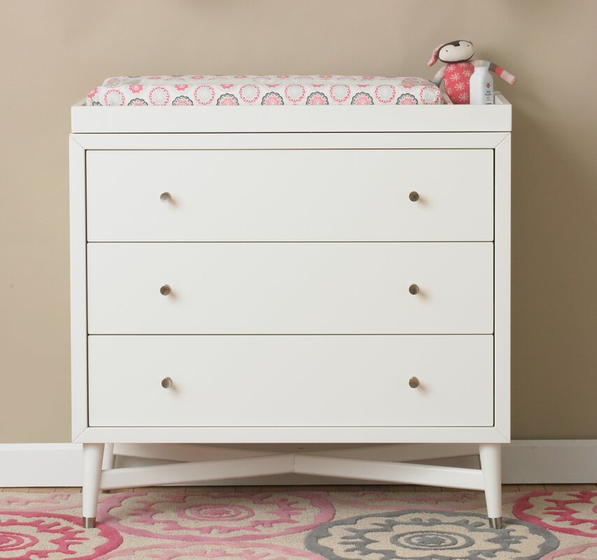 Mid Century 3 Drawer Changing Dresser In French White