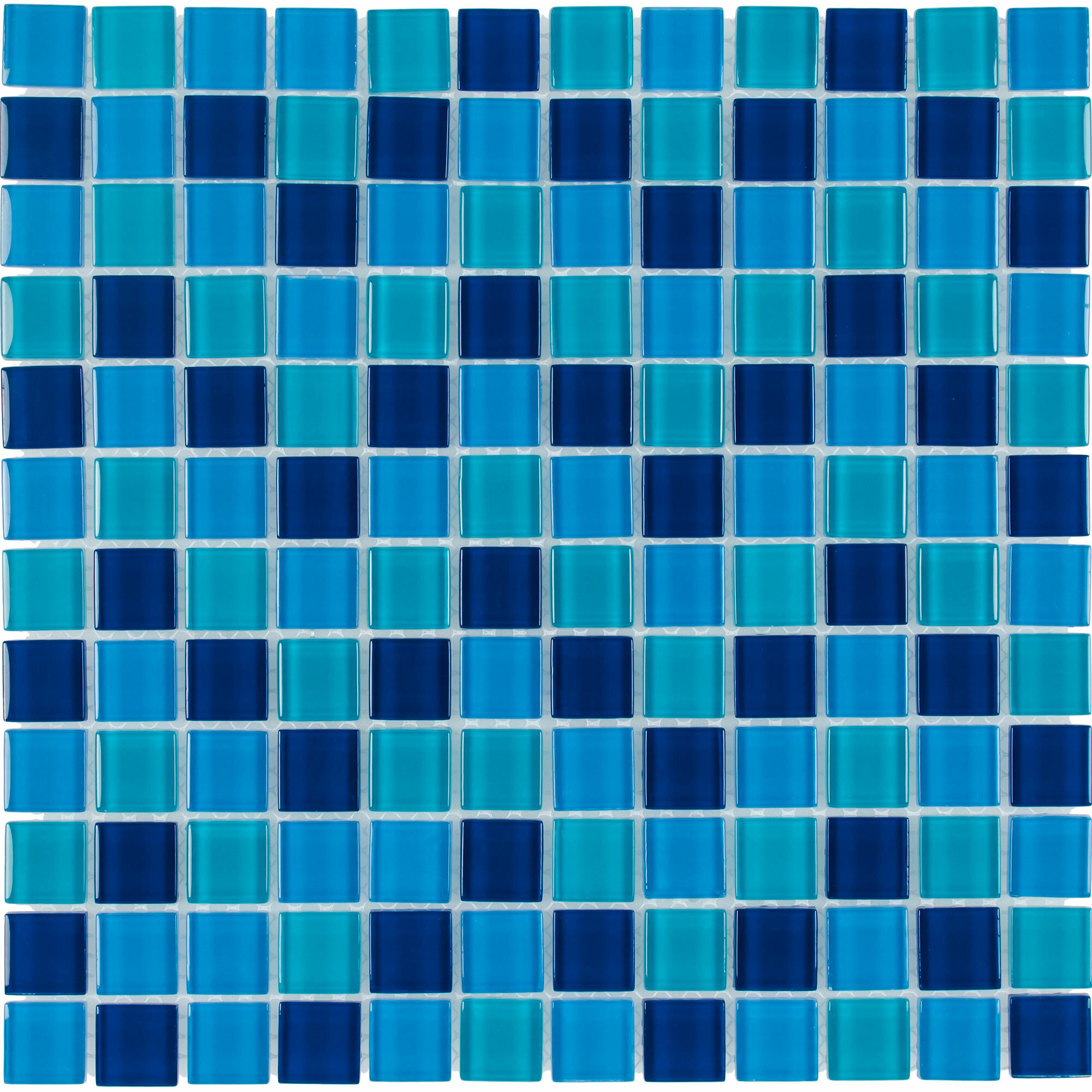 Mosaictileoutlet Stacked Squares 1 X 1 Glass Mosaic Tile In Glossy Blue Wayfair