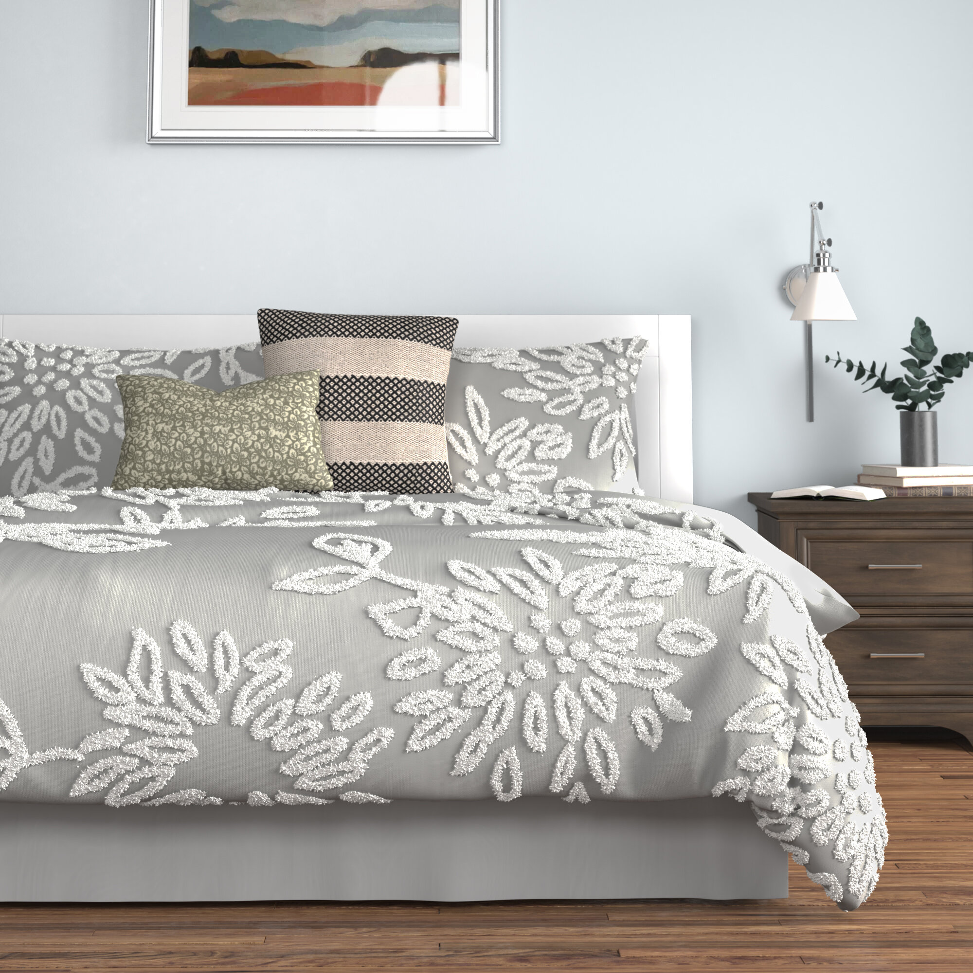 BEAUTIFUL CHIC GREY RUFFLED TUFTED RUCHE DAYBED DAY BED QUILT BEDDING COVER SET