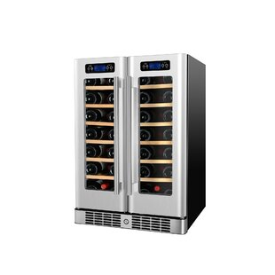 40 Bottle Under The Counter French Door Dual Zone Freestanding Wine Cooler