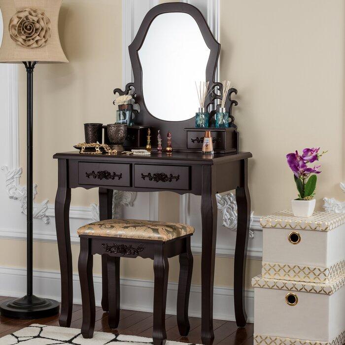 Demello Antique Vanity Set With Mirror
