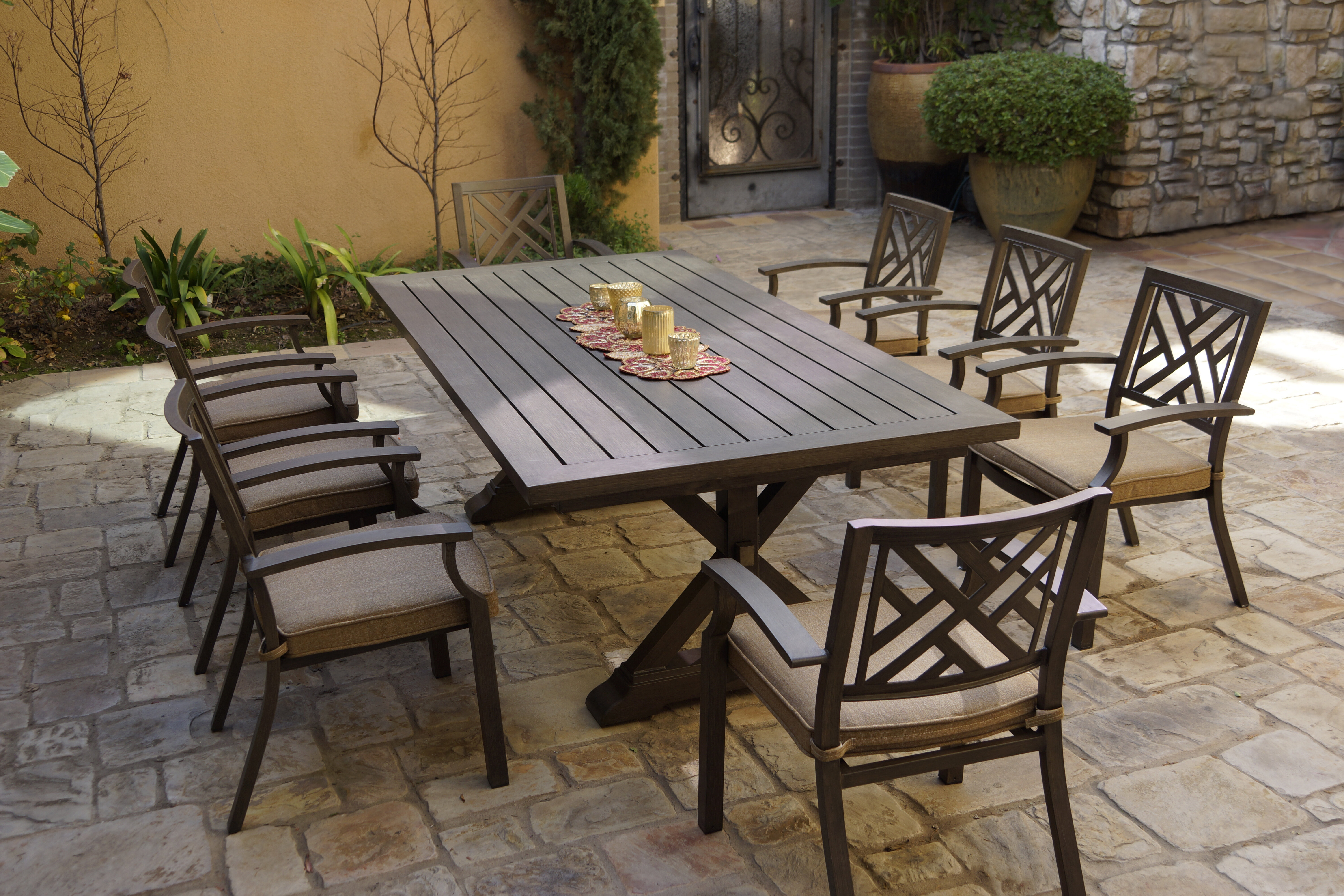 9 Square Patio Bistro Tempered Glass Table Top with Umbrella Hole ...