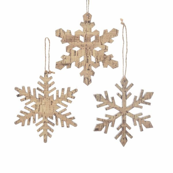 3 Piece Wooden Snowflake Hanging Figurine Set Joss Main