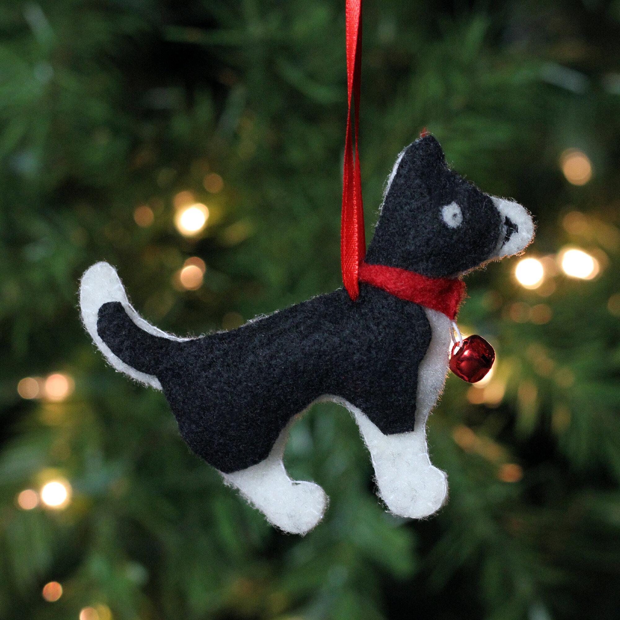 Northlight 4 72 Cream And Black Dog Plush Christmas Ornament Wayfair