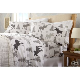 Look for Clymer Moose Super Soft Printed Flannel Cotton Sheet Set By Loon Peak