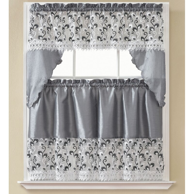 August Grove Manningtree 3 Piece Kitchen Curtain Set Reviews Wayfair