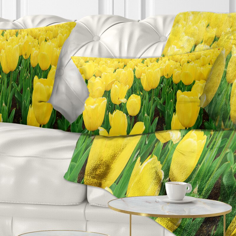 Decorative Green Lumbar Throw Pillows Tulip Garden Design Woven Sofa Cushion