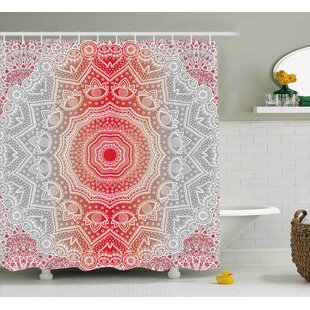 Melinda Gray and Red Ethnic Eastern Cultural Folk Deity and Mystic Boho Zen Ombre Mandala Art Design Single Shower Curtain