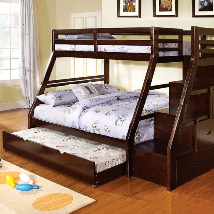 bunk in this contemporary shaped loft stairs twin bed l full hardwood with design is over beds a