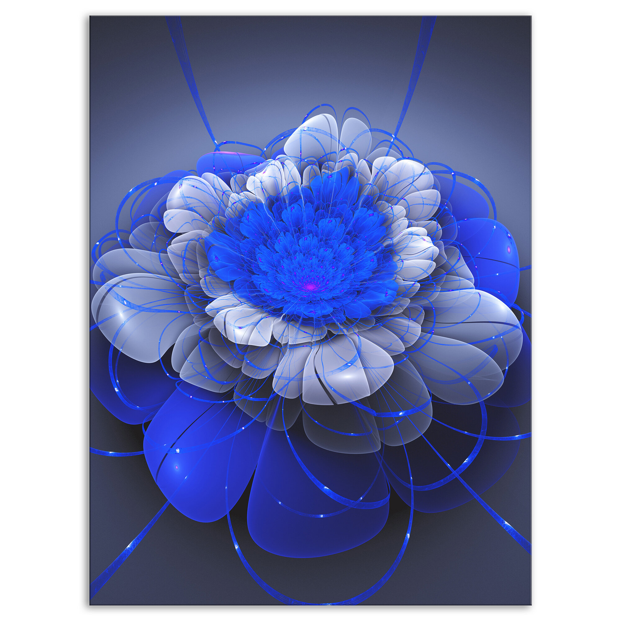 East Urban Home Floral Blue Lotus Space Flower Graphic Art Print On Wrapped Canvas Wayfair