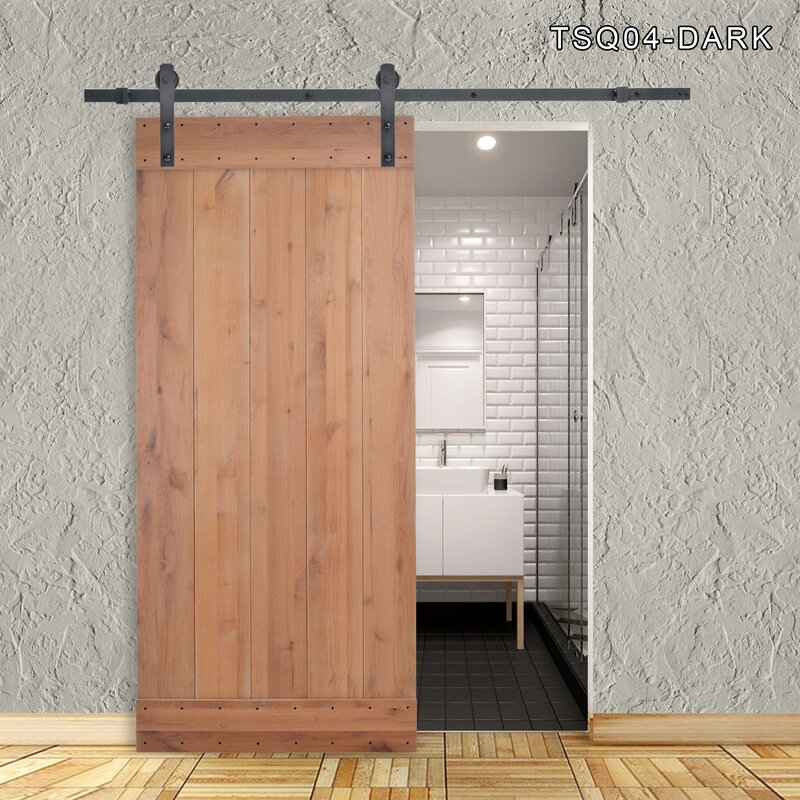 Vertical Slat Primed Solid Wood Panelled Slab Interior Barn Door & Calhome Vertical Slat Primed Solid Wood Panelled Slab Interior Barn ...