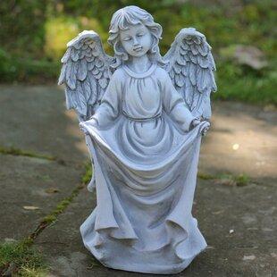 Charmant Stone Angel Bird Feeder Garden Statue
