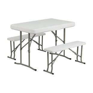 Freeport Park Springer Folding Table and Benches 3 Piece Dining Set