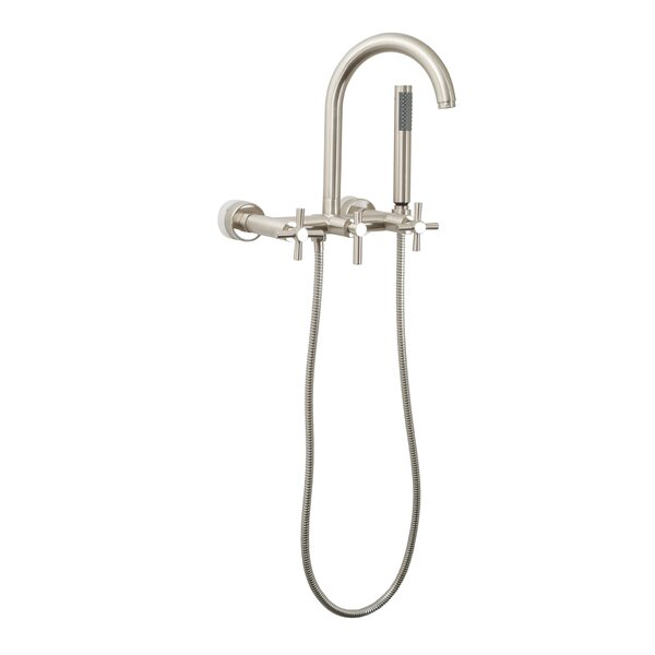 Contemporary Wall Mount Tub Faucet Trim Metal Cross Handles With Hand Shower