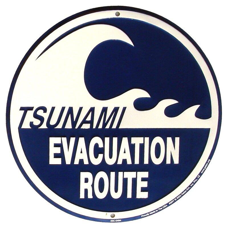 treasure gurus tsunami evacuation route metal sign warning