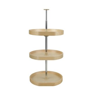 Banded Wood D Shape 3 Shelf Lazy Susan