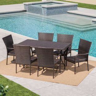 Rohil Outdoor Wicker 7 Piece Dining Set b..