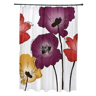 Best Reviews Poppies Floral Print Shower Curtain ByEast Urban Home