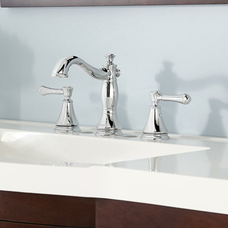 Delta Cassidy™ Deck Mount Bathroom Faucet with Drain Assembly ...