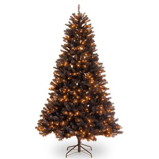 north valley 65 black spruce artificial christmas tree with 450 orange lights with stand