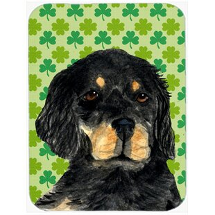 Shamrock Lucky Irish Gordon Setter St. Patrick's Day Portrait Glass Cutting Board By Caroline's Treasures