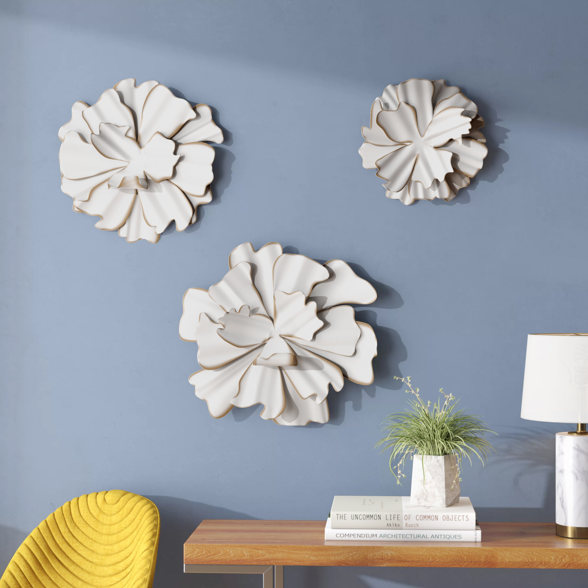 Latitude run 3 piece eclectic flower wall decor set wayfair