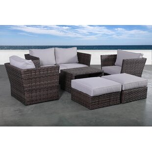 Rosecliff Heights Cochran 7 Piece Rattan Sectional Seating Group with Cushions