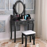 Amsterdam Vanity Set with Stool and Mirror by Rosdorf Park