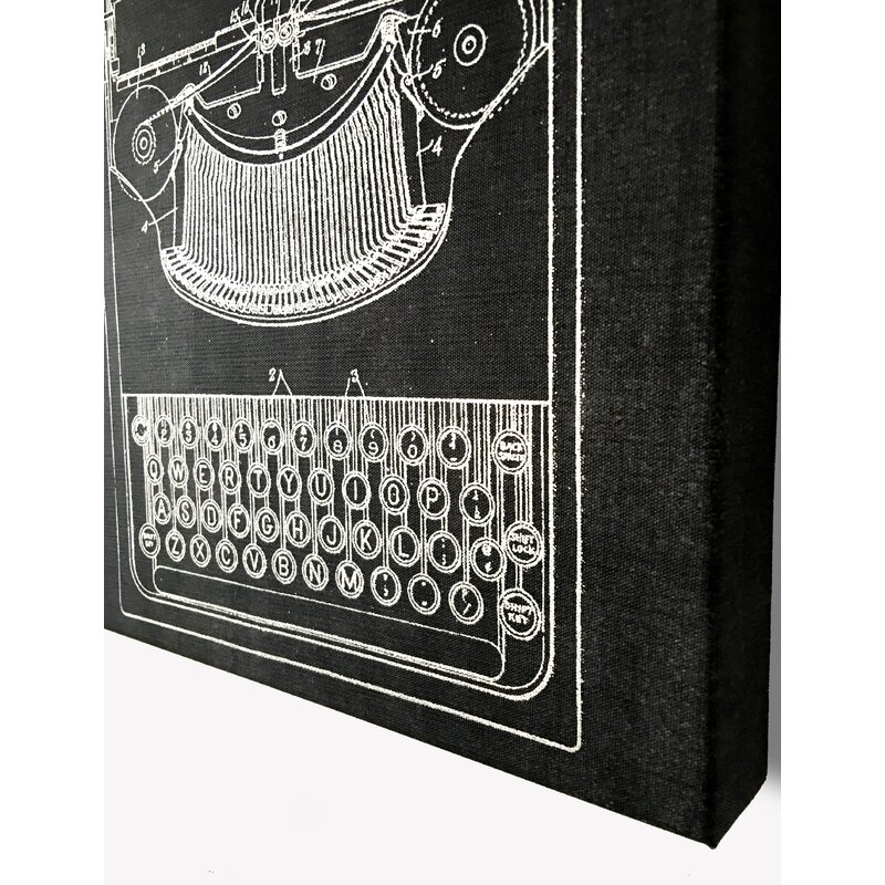 Typewriter Graphic Art on Cotton Canvas in Black/Silver
