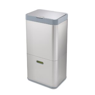 Joseph Joseph Intelligent Waste Totem Stainless Steel 15.8 Gallon Touch Top Multi Compartments Trash & Recycling Bin