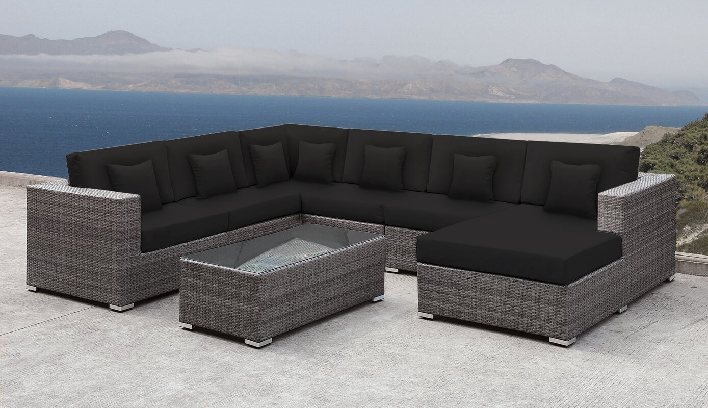 Orren Ellis Roslindale 7 Piece Rattan Sectional Set with Cushions
