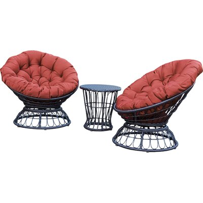 Barrigan 3 Piece 2 Person Seating Group with Cushions Fabric: Brick Red by World Menagerie