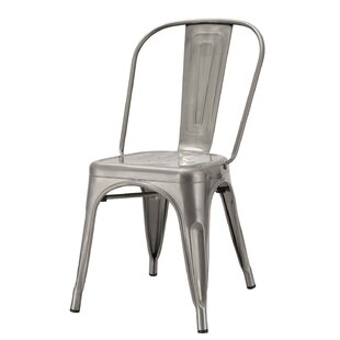 Homebeez Metal Stackable Chic Dining Bistro Cafe Side Chair (Set of 2)
