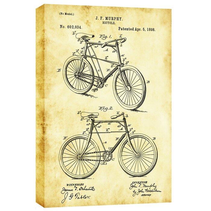 Cortesi home bicycle vintage patent blueprint graphic art on canvas bicycle vintage patent blueprint graphic art on canvas malvernweather Images