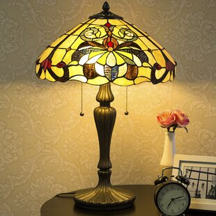 Waithman Tiffany Baroque Jeweled Stained Glass 23.5 Table Lamp