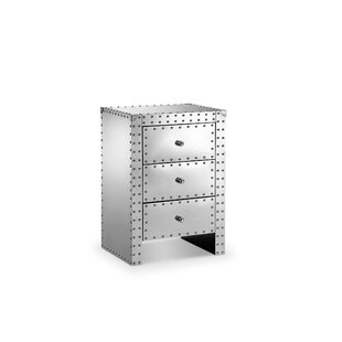 Alonso Stainless Steel 3 Drawer Nightstand
