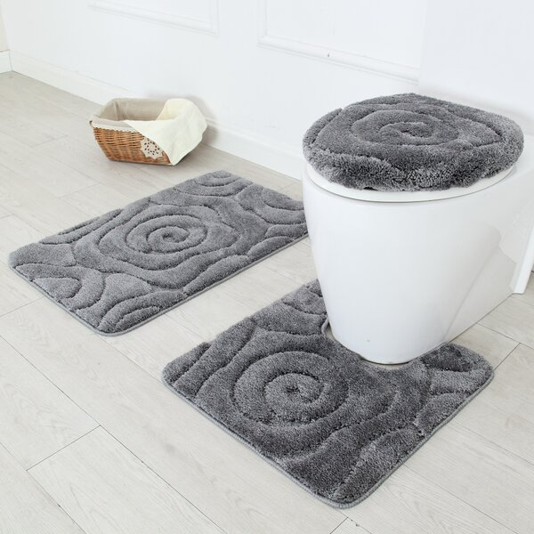Regular Size Taupe Color Nova Home Collection Non-Slip Safety Ultra Water Absorbent Soft Solid 2 Pieces Bathroom Bath Rug Floor Mat Set