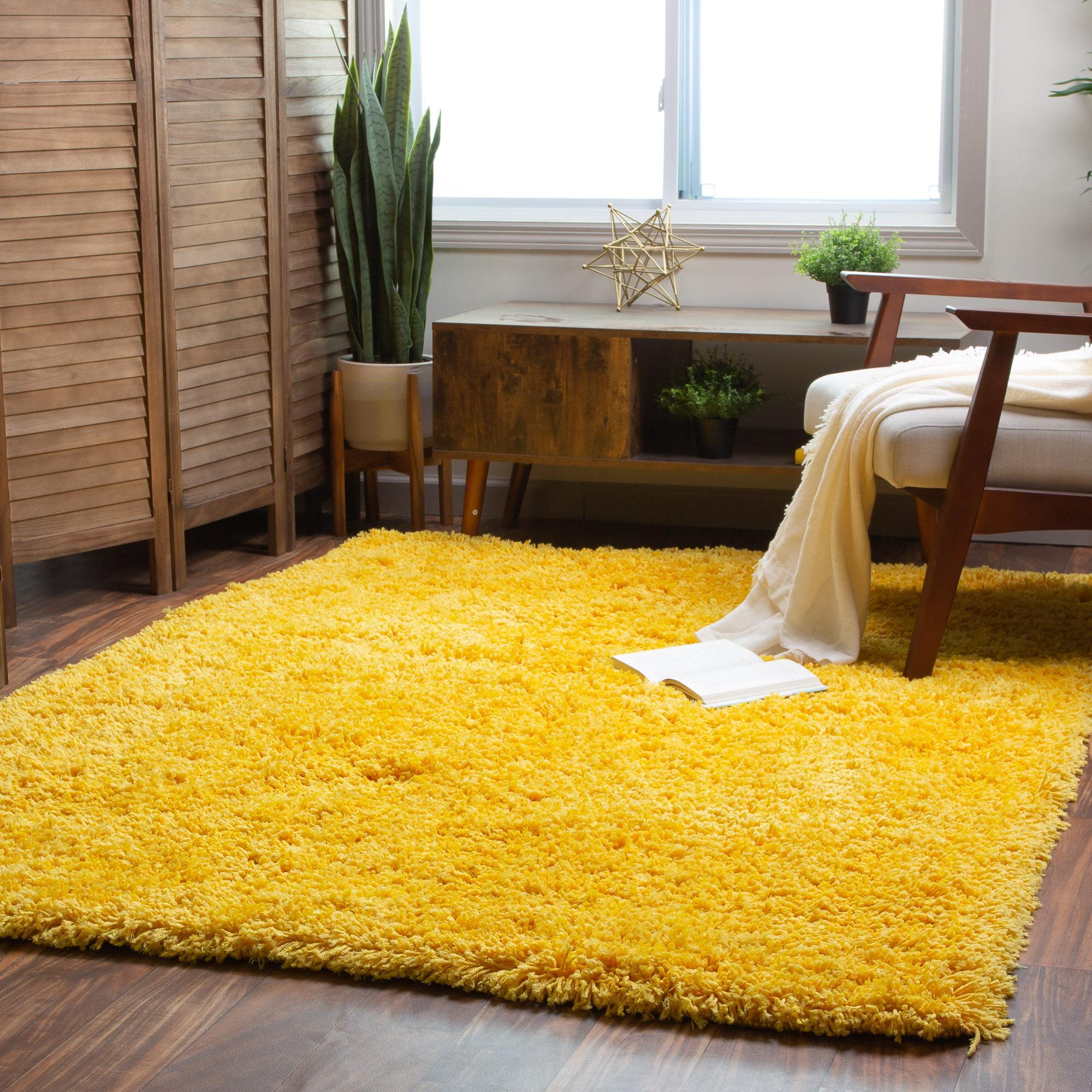Harriet Bee Ambriz Handmade Shag Yellow Area Rug Reviews Wayfair