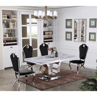 Deeping Marble 5 Piece Dining Set Everly Quinn