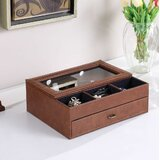 """4"""" H x 9.25"""" W x 11.4"""" D Leather Tempered Glass Jewellery Box"""