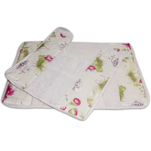 Flower Haven Banded Bath 2 Piece Rug Set