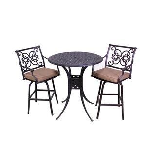 Elzada 3 Piece Sunbrella Bar Height Dining Set with Cushions by Fleur De Lis Living