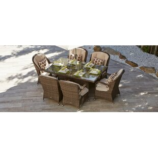 August Grove Guevara 7 Piece Outdoor Dining Set with Cushions